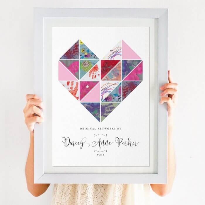 Child's Artwork Display Print Geometric Heart