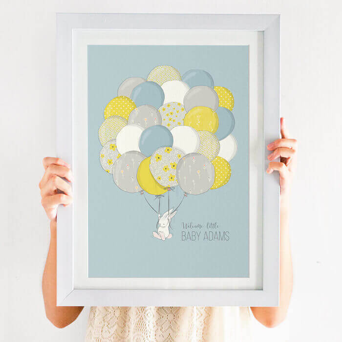 Bunny holding balloons print