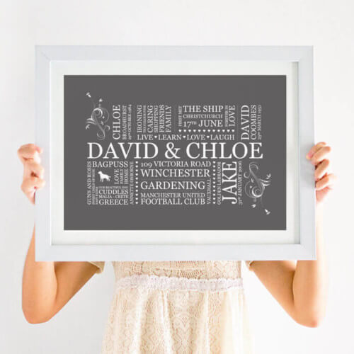 family print word art
