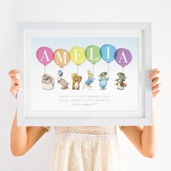 Personalised Peter Rabbit Newborn Print