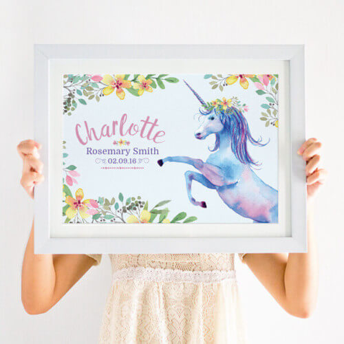 Floral unicorn print