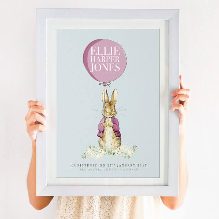 Personalised Peter Rabbit Baptism Print