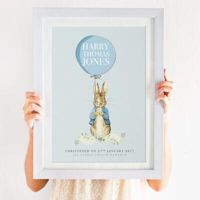 Personalised Peter Rabbit Christening Print