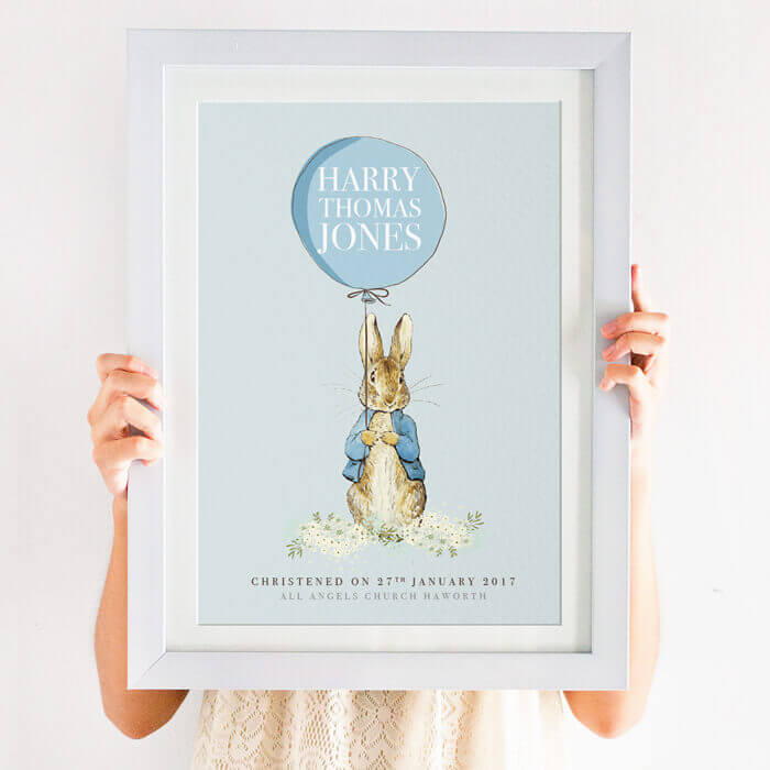 Personalised Peter Rabbit Christening Print Created By Magic