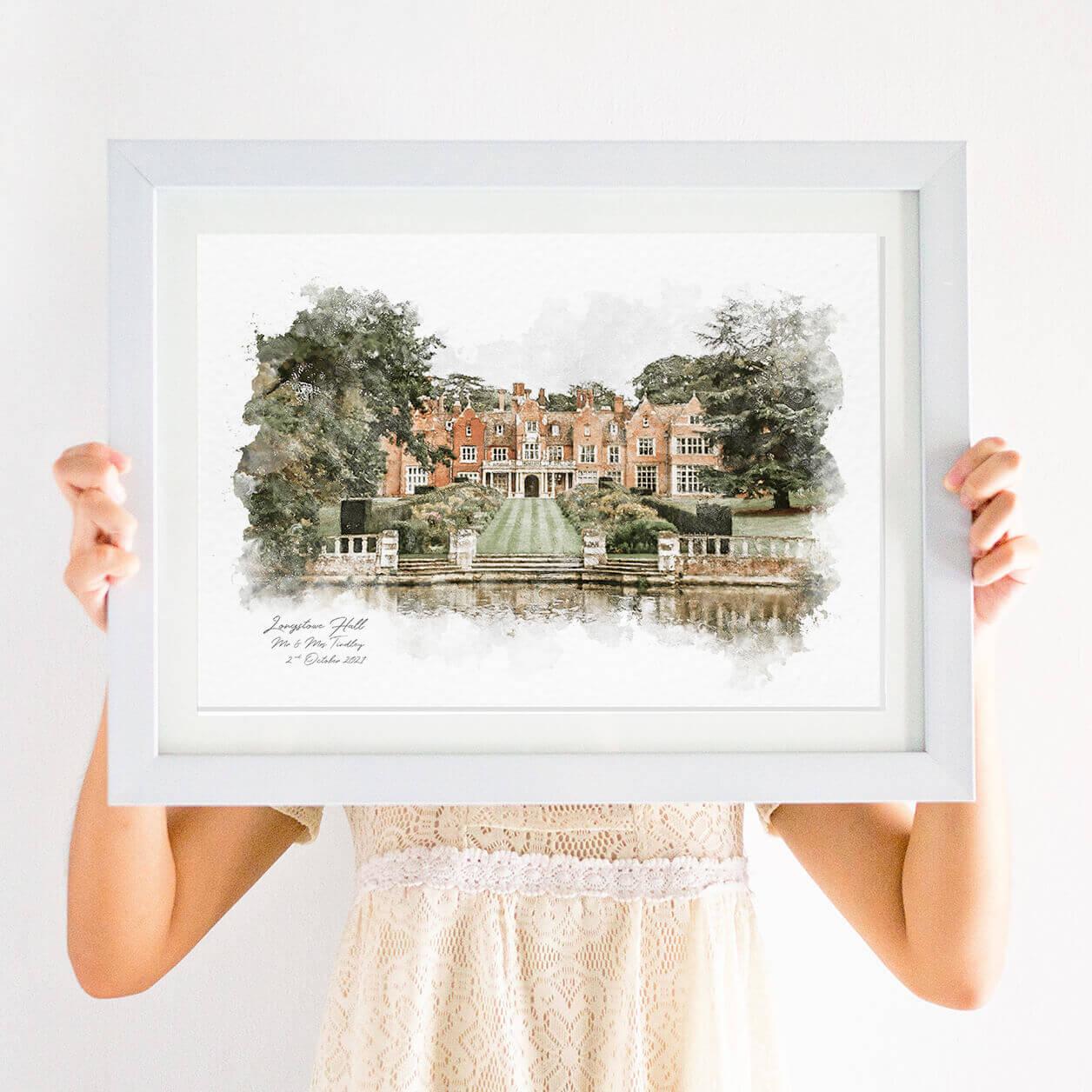 Personalised Simple Wedding Venue Illustration Print
