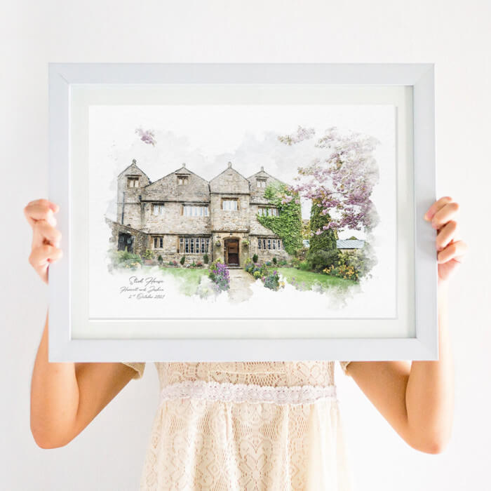 Personalised Simple Wedding Venue Illustration Print