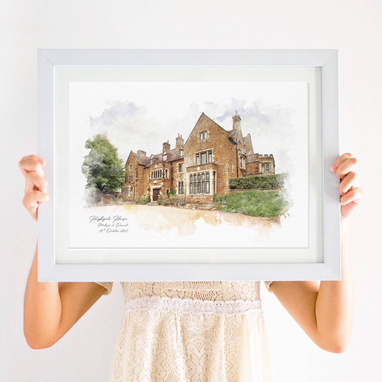 wedding venue illustration prints
