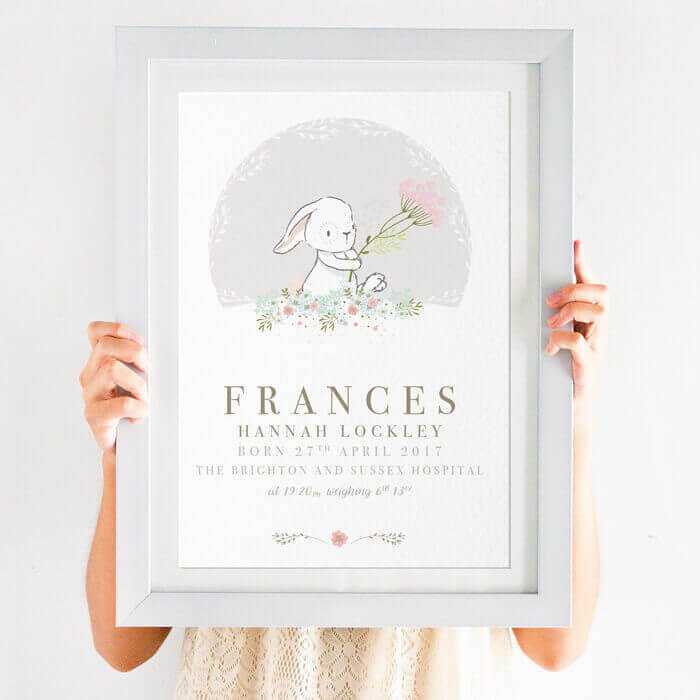 Personalised Christening Gift for Girls A4 Print