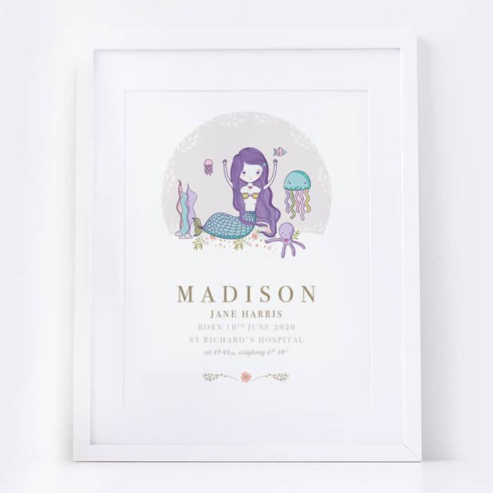 Personalised New Baby Girl Mermaid Print