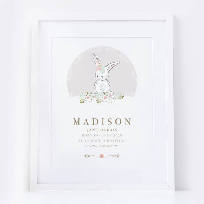 Personalised New Baby Girl Bunny Print