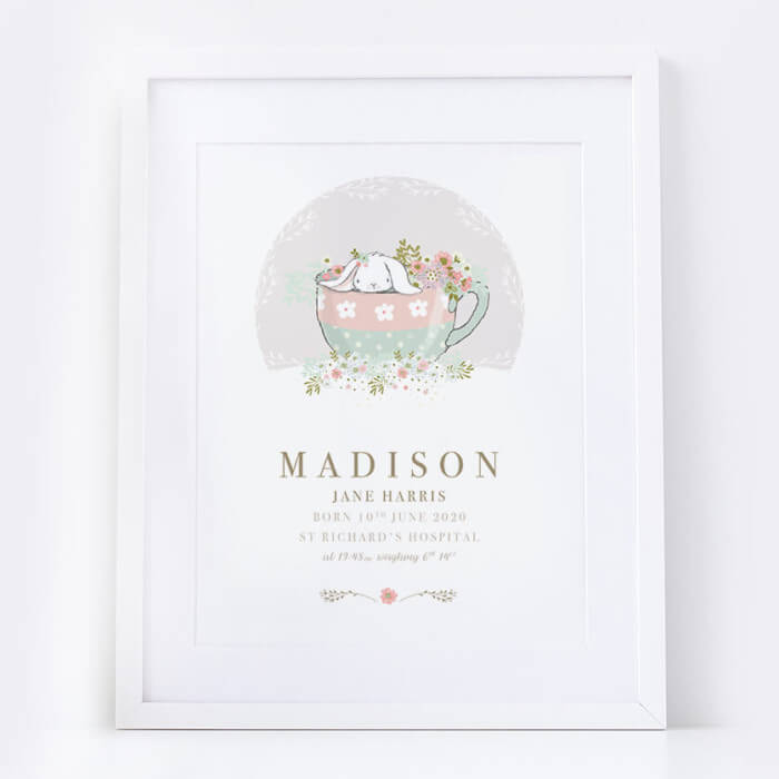 Personalised New Baby Girl Bunny Print
