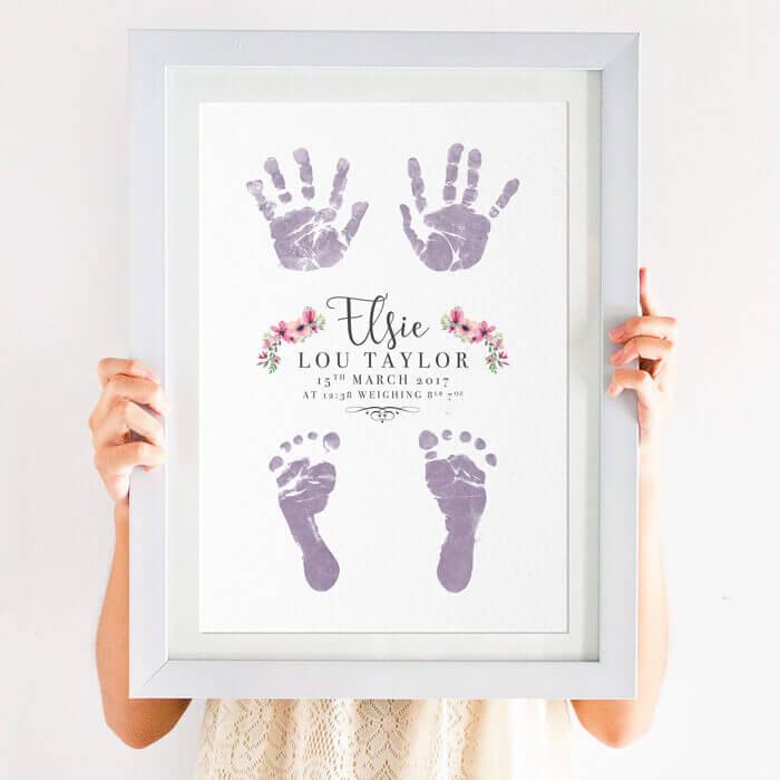 personalised inkless handprint and footprint print
