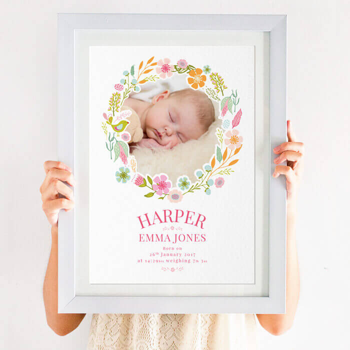 Personalised floral New Baby Photo Print