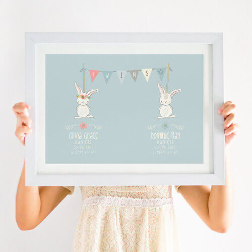 Personalised newborn twin print