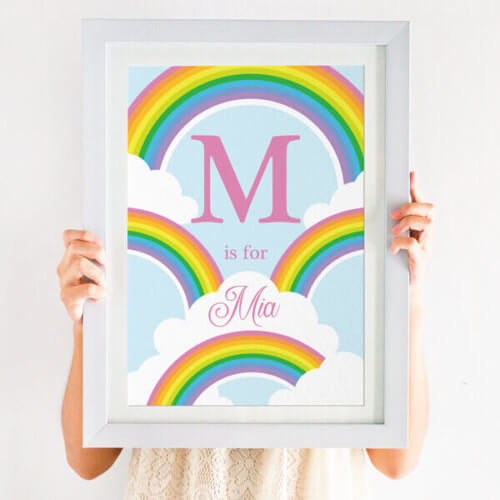 personalised bright rainbow print