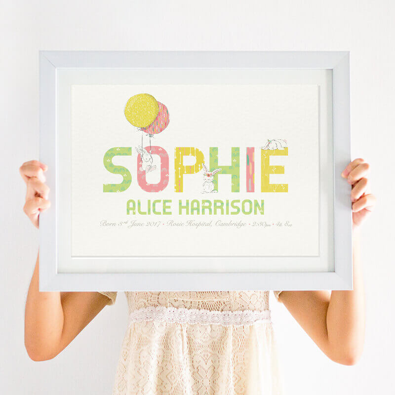 Personalised Girls Birth Details Bunny Print