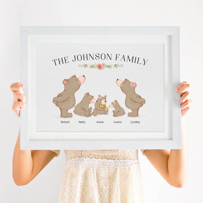 personalised bear family print