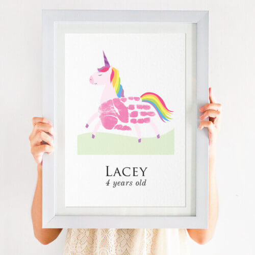 Personalised Handprint Unicorn Print