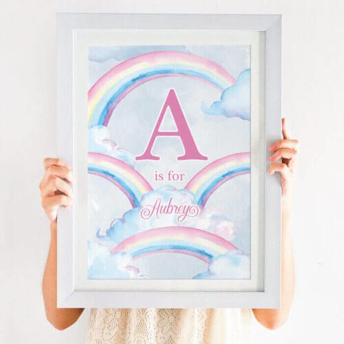 personalised pastel rainbow print