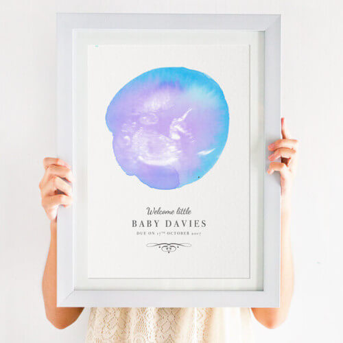 personalised watercolour baby scan print