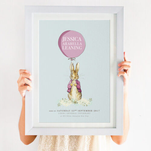 personalised peter rabbit new baby print