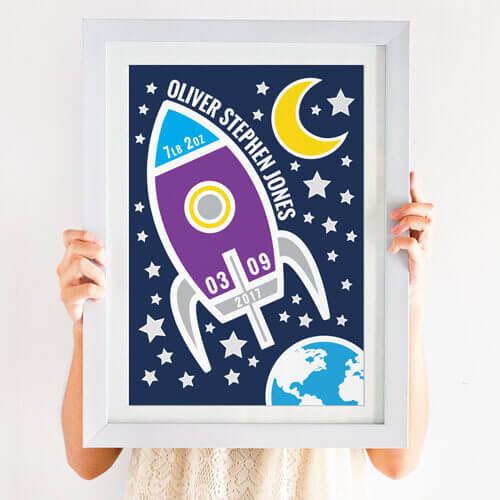 bright personalised space print