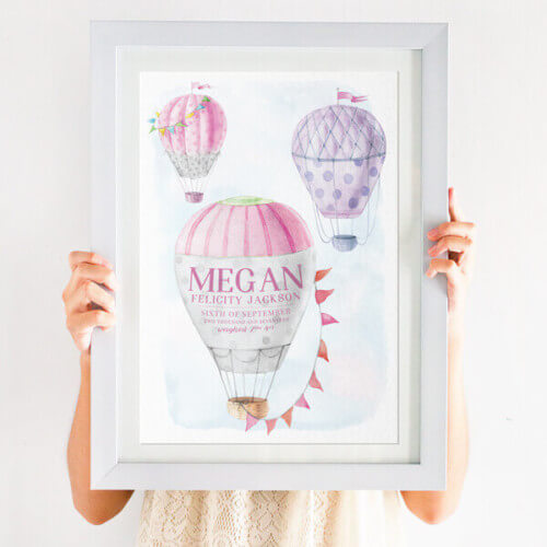 Personalised Hot Air Balloon Nursery Print