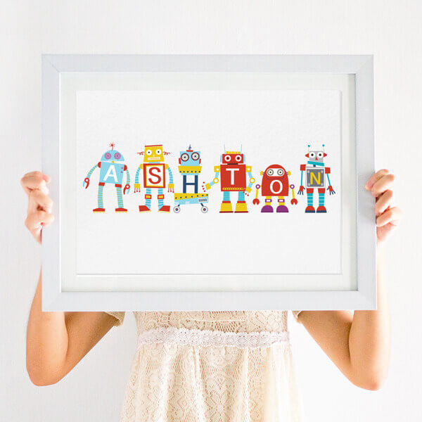 personalised robot nursery name print