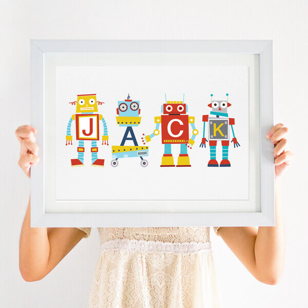 personalised robot nursery print