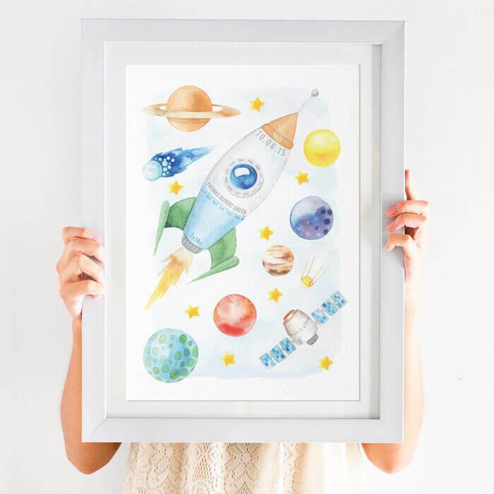 Personalised Space Nursery Print