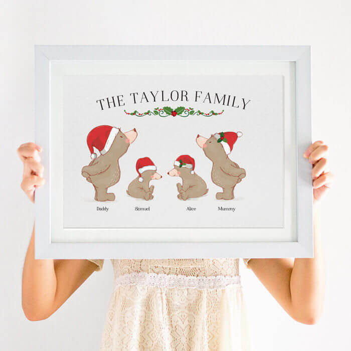 personalised bear family christmas print