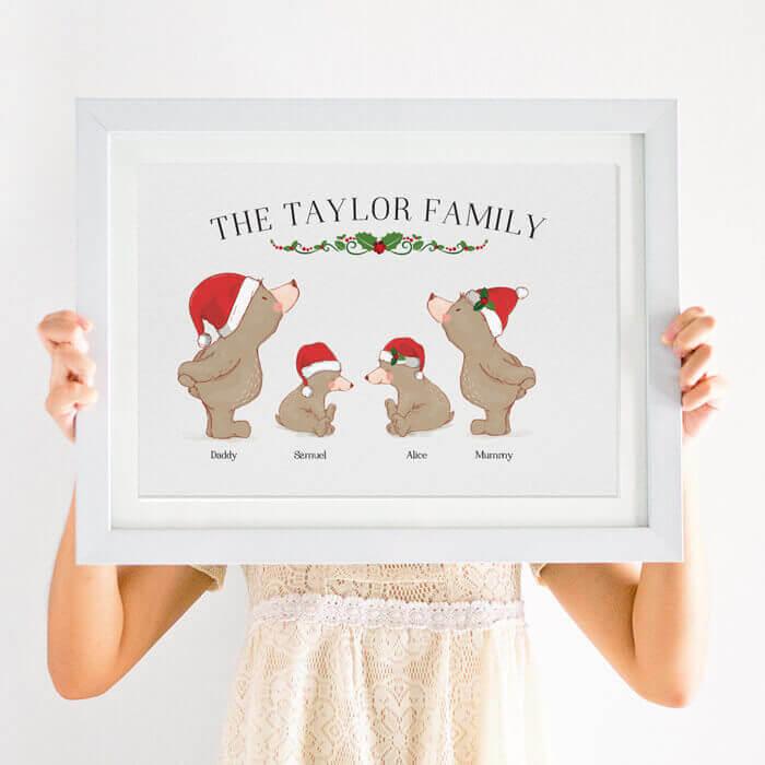personalised bear family christmas print
