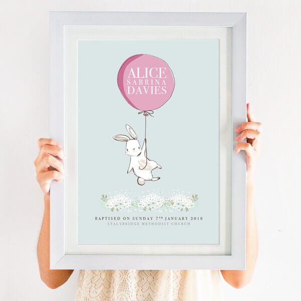 Personalised Baptism Balloon Print