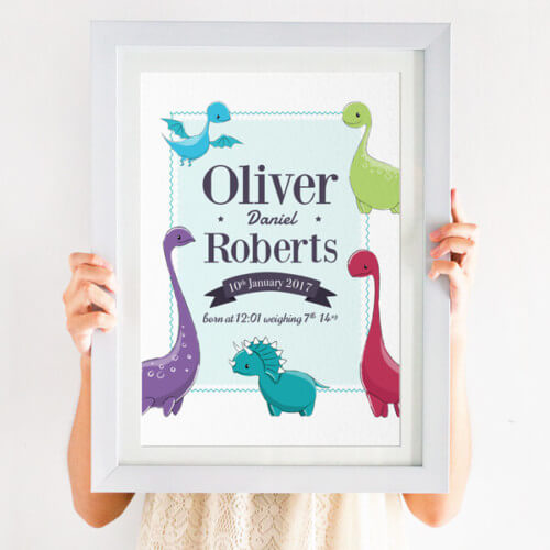 Personalised Dinosaur Nursery Print