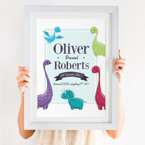 Personalised Dinosaur Nursery Print