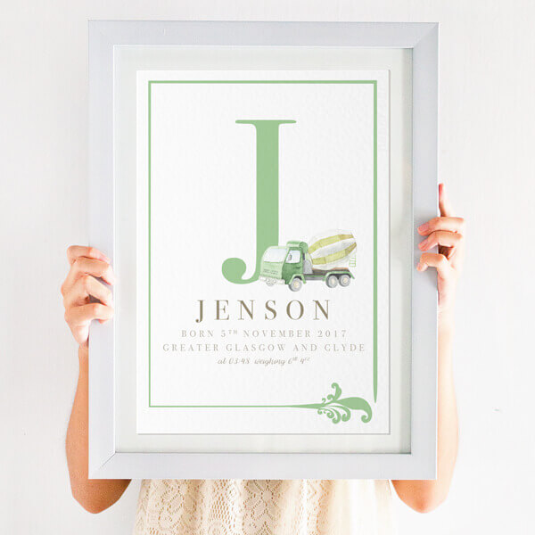 Boys new baby name print digger