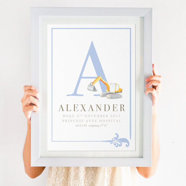 Boys new baby name print