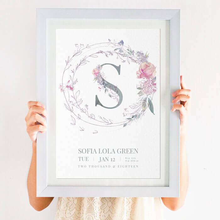Personalised Rose Garland Floral Initial Name Print