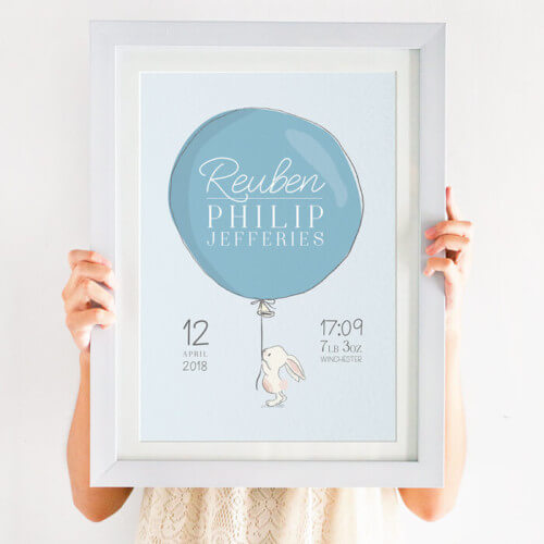 Personalised Birth Details Bunny Print