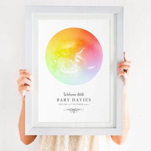 Personalised Rainbow Baby Scan Print