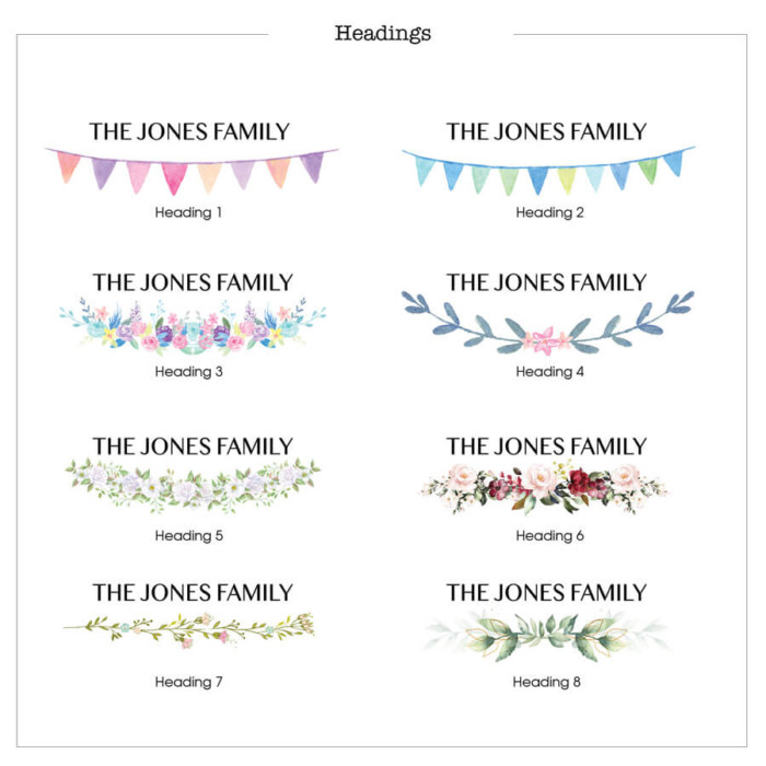 welly family print header options