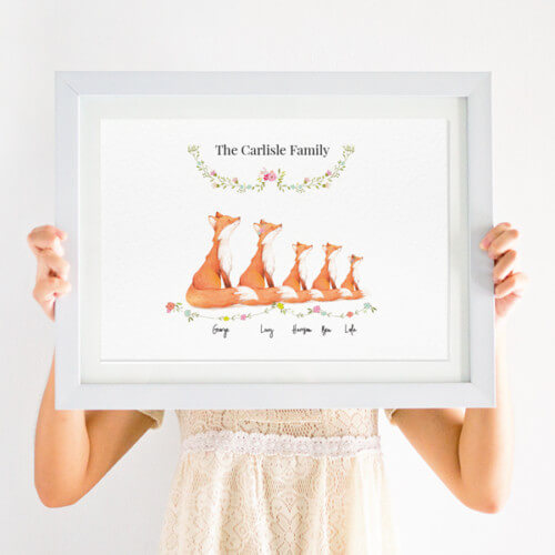 Personalised Fox Family Print