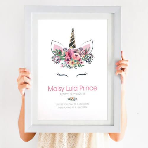personalised unicorn foil print