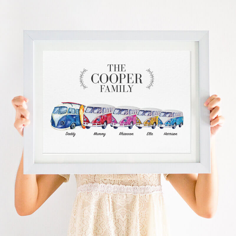 Personalised VW Campervan Family Print