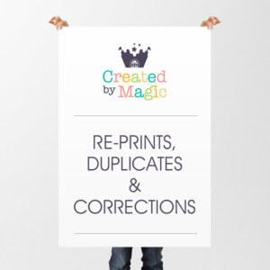 Re-prints, Duplicates & Corrections