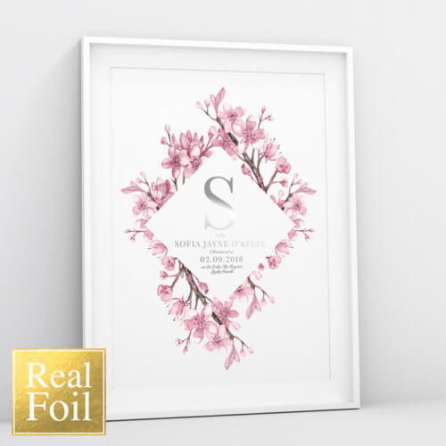 Personalised Christening Foil Print