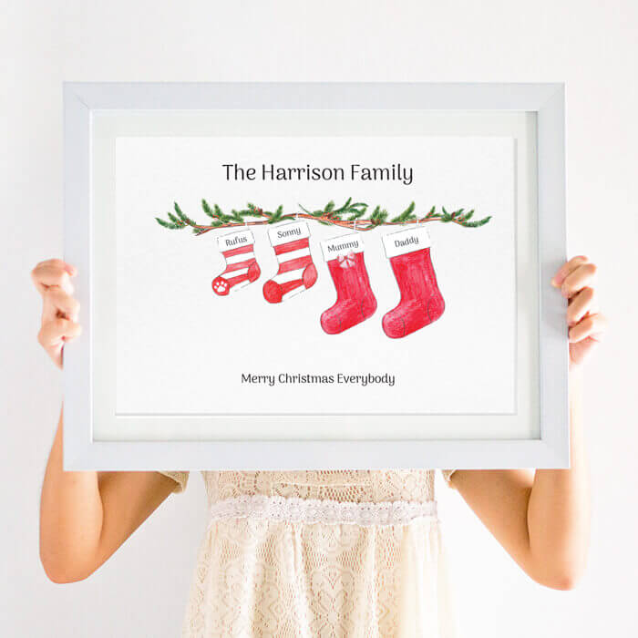 Christmas Images To Print.Personalised Christmas Stocking Family Print