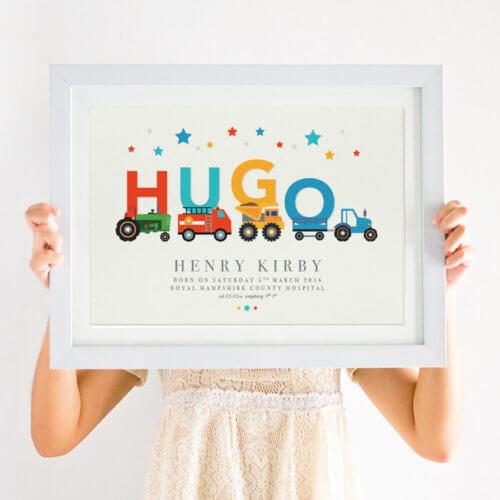 Personalised Vehicle Nursery Name Print