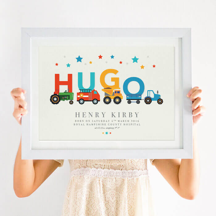 Personalised Diggers and Trucks Boys Nursery Print