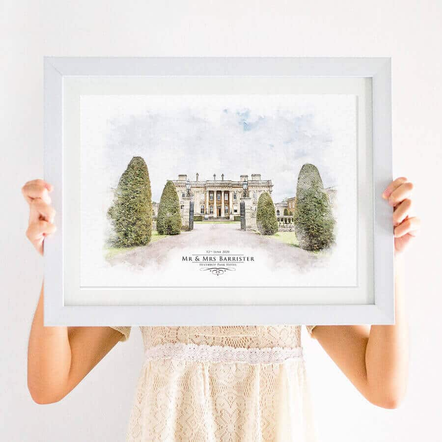 watercolour venue illustration print